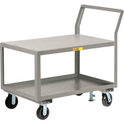 "Little Giant® Sloped Handle HD Utility Cart, 2 Shlf, 3600 lb Cap., 24x36x28, 6"" Whl, Floor Lock"
