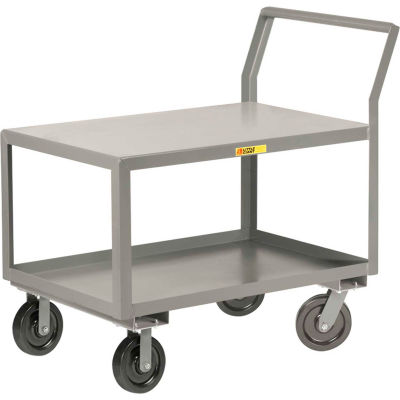 "Little Giant® Sloped Handle HD Utility Cart, 2 Shlf, 3600 lb Cap., 24x36x28, 8"" Phenolic Wheels"