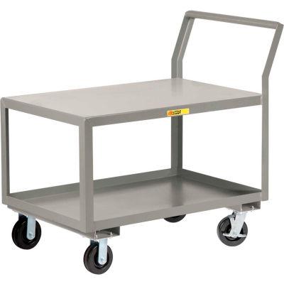 "Little Giant® Sloped Handle HD Utility Cart, 2 Shelf, 3600 lb Cap., 30x48x28, 6"" Wheel w/Brakes"