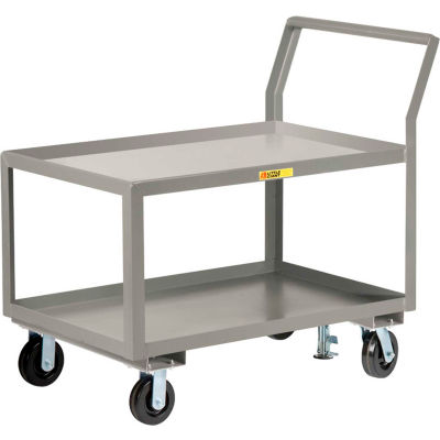 "Little Giant® Sloped Handle HD Utility Cart, 2 Lip Shlf, 3600 lb, 30x48x28, 6"" Whl, Floor Lock"