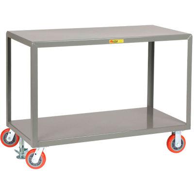 Little Giant® Mobile Table, 2 Shelves, 3600 lb Cap, 24x60, 2 Rigid & 2 Swvl Casters, Floor Lock