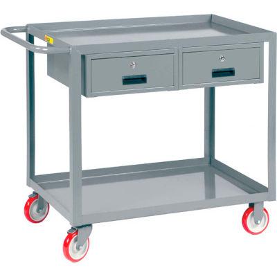 Little Giant® Service Cart, 2 Drawers LGL-2436-BK-2DR, Lip Shelves, 24 x 36