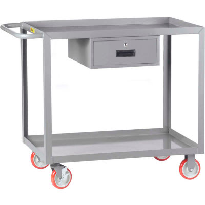 Little Giant® Service Cart with Drawer LGL-2448-BK-DR, Lip Shelves, 24 x 48