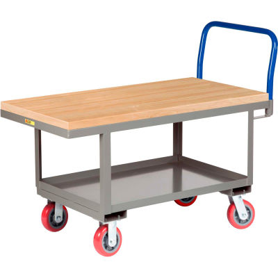 Little Giant® Work Height Platform Truck RNJ2-3060-6PY with Lower Shelf 30 x 60 Fixed Height