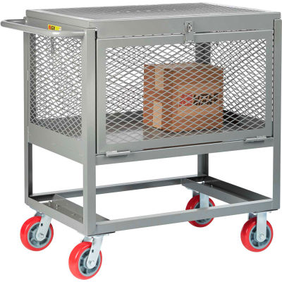 Little Giant® Raised Platform Trucks with Drop-Gate & Lid, Mesh Sides, 2000 lb Cap., 24x48