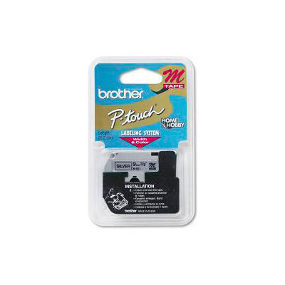 M Series Tape Cartridge for P-Touch Labelers, Black on Silver, 3/8 Width