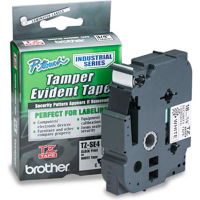 TZ Tape Cartridge for P-Touch labelers, security tape, Black on White, 3/4w