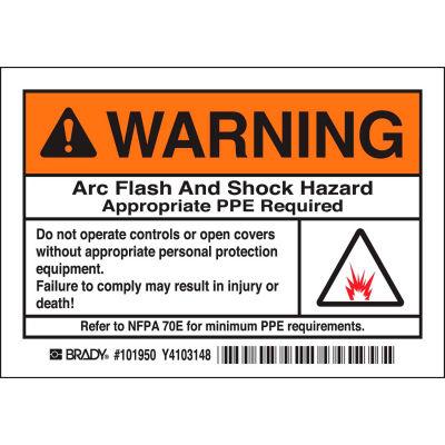 "Brady® 1011950 Arc Flash Labels, Warning Arc Flash And Shock Hazzard, 3-1/2"" X 5"", Blk/Orng/Wht"