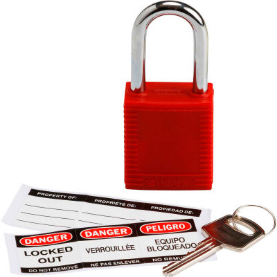 Brady® 103533 Safety Padlock With Label, Steel, Red