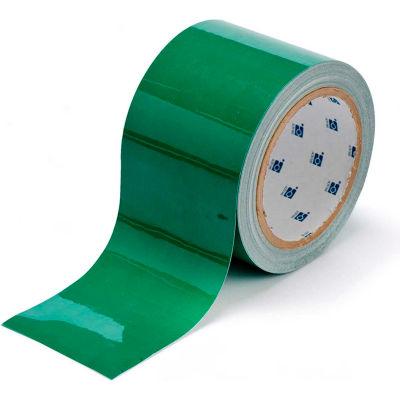 """Brady® 104345 ToughStripe Floor Marking Tape, Polyester, 3""""W X 100'L, Green"""