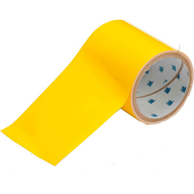 "Brady® 104372 ToughStripe Floor Marking Tape, Polyester, 4""W X 100'L,  Yellow"