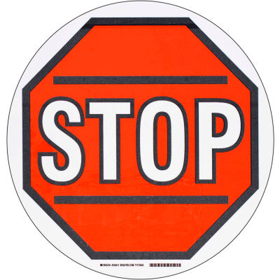 """Brady® 104511 Floor Stop Sign, Red/White, Polyester, 17""""Dia"""