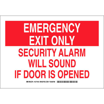 """Brady® 127165 Emergency Exit Only Security Alarm Will Sound If Door Is Opened Sign, 10""""W x 7""""H"""