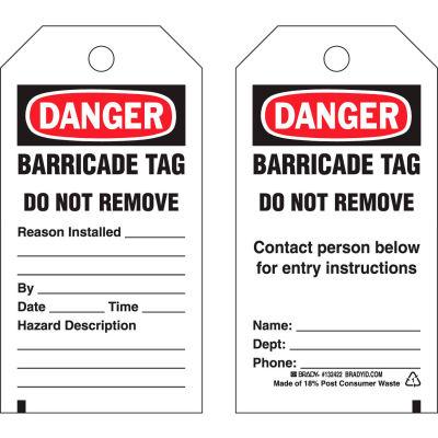 "Brady® 132422 Danger Barricade Tag, 2 Sided, 25/Pkg, Polyester, 3""W x 5-3/4""H"