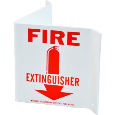 "Brady® 45366 Fire Extinguisher ""V"" Sign, 2 Sided, Polystyrene, 10""W x 5.5""H"