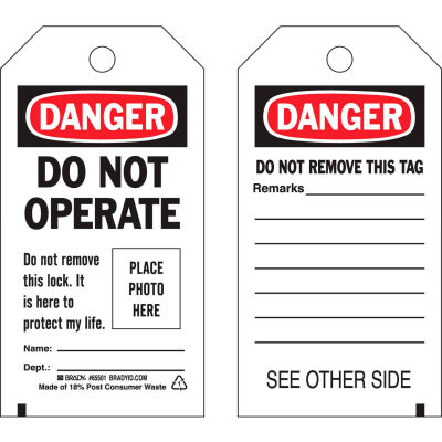 Brady® 65501 Lockout Tag- Danger Do Not Operate, Self-Laminating, Economy, Polyester, 25/Pack