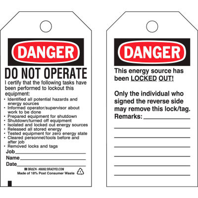 Brady® 66062 Lockout Tag- Danger Do Not Operate, 2 Sided, Polyester, 25/Pack