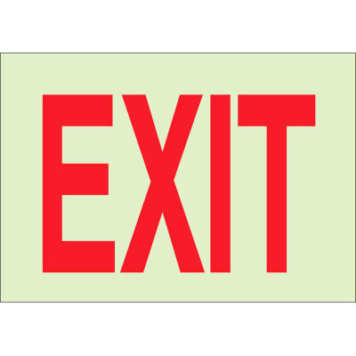 "Brady® 73510 BradyGlo Exit Sign, Self-Adhesive, Polyester, 14""W x 10""H"