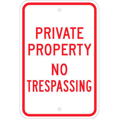"""Brady® 80106 Private Property No Trespassing Sign, RD/WH, HIP Reflective, Aluminum, 12""""W x 18""""H"""