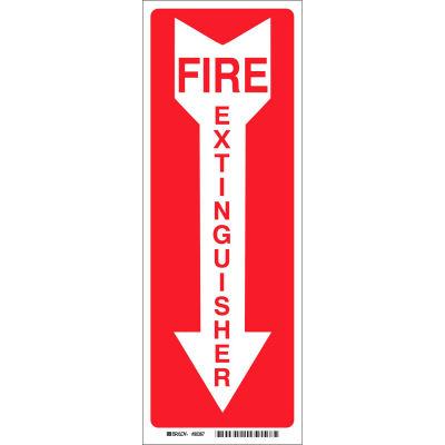 """Brady® 85261 Fire Extinguisher Sign, Polyester, 3-1/2""""W x 14""""H"""