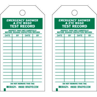 "Brady® 86560 Emergency Shower & Eye Wash Test Record Tag, Polyester, 3""W x 5-3-3/4""H, 10/Pkg"