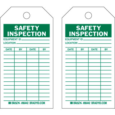 "Brady® 86666 Safety Inspection Tag, 2 Sided, 100/Pkg, Cardstock, 3""W x 5-3/4""H"