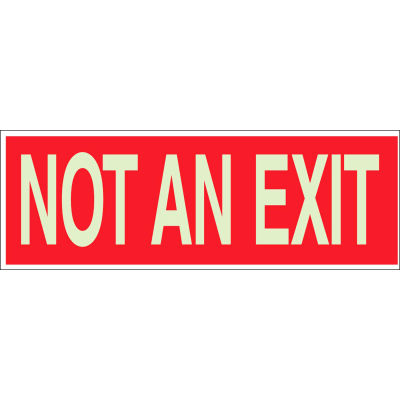 "Brady® 90492 BradyGlo Not An Exit Sign, Red on Glow in the Dark, Polyester, 10""W x 3-1/2""H"