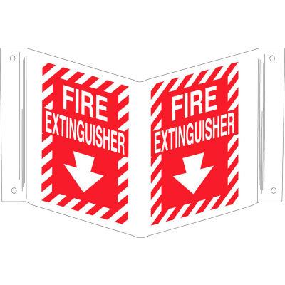 "Brady® 96908 Fire Extinguisher ""V"" Sign, 2 Sided, Polyethylene, 18""W x 12""H"