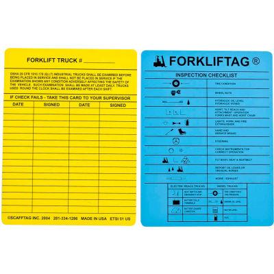 """Brady® FLT-ETSI51 Forkliftag® Inspection Tag, 2 Sided, 100/Pk, 7-5/8"""" W X 5-3/4""""H, Blu/Ylw"""