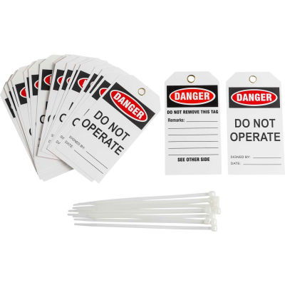 Brady® TG035E Lockout Tag- Danger Do Not Operate, 2 Sided, Vinyl, 25/Pack