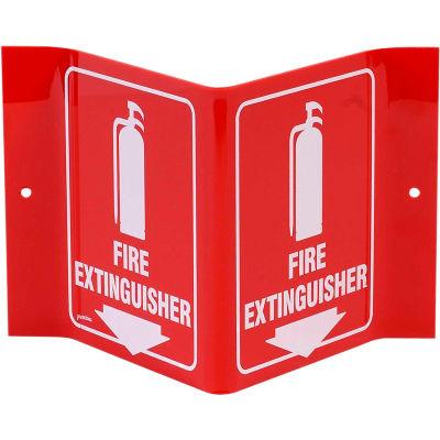 "Brady® V1FE15A Fire Extinguisher ""V"" Sign, 2 Sided, Acrylic, 8""W x 6""H"