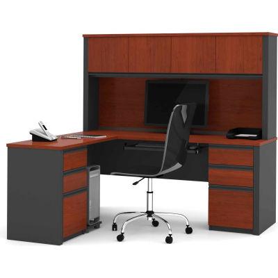 """Bestar® L Desk with Hutch - Double Pedestal - 71"""" - Bordeaux & Graphite - Prestige+"""