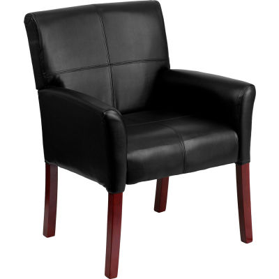Executive Reception Chair - Black Leather - Mahogany Legs