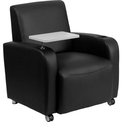 Leather Mobile Guest Chair with Tablet Arm and Cup Holder - Black