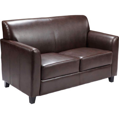 Leather Guest Loveseat - Brown - Hercules Diplomat Series