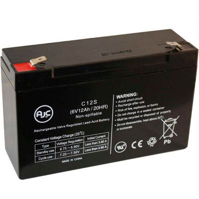 AJC® LightAlarms 2PG-1SLA 6V 12Ah Emergency Light Battery