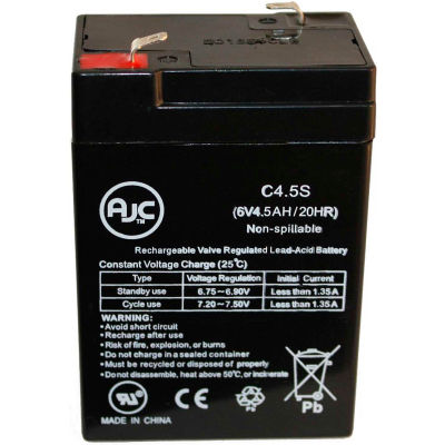 AJC® Interstate SEC0905 SLA Rechargable 6V 4.5Ah Emergency Light Battery