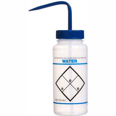 Bel-Art LDPE Wash Bottles 116460621, 500ml, Water Label, Blue Cap, Wide Mouth, 6/PK