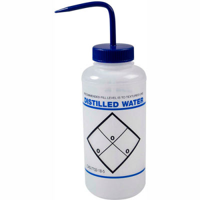 Bel-Art LDPE Wash Bottles 116466032, 1000ml, Distilled Water Label, Blue Cap, Wide Mouth, 6/PK