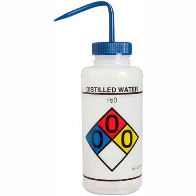 Bel-Art LDPE Wash Bottles 117320004, 1000ml, Distilled Water Label, Blue Cap, Wide Mouth, 4/PK