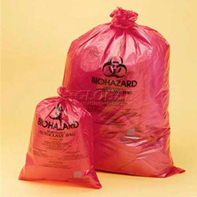 "Bel-Art Red Biohazard Disposal Autoclavable Bags, 2-4 Gallon, 1.5 mil Thick, 14""W x 19""H, 200/PK"