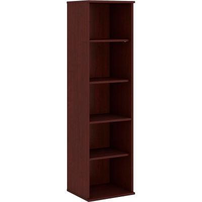"Bush® 66""H 5 Shelf Narrow Bookcase Harvest Cherry"
