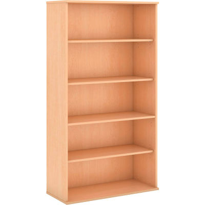 "Bush® 72""H 5 Shelf Bookcase Natural Maple"