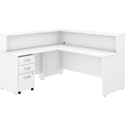 Bush Furniture Reception L Desk with 3 Drawer Mobile Pedestal - White - Studio C Series