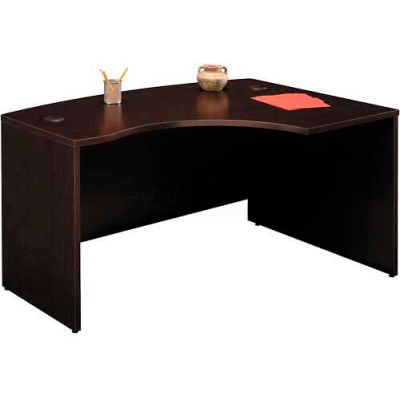 Bush Furniture Right Hand Wood Desk with Bow Front - Mocha Cherry - Series C