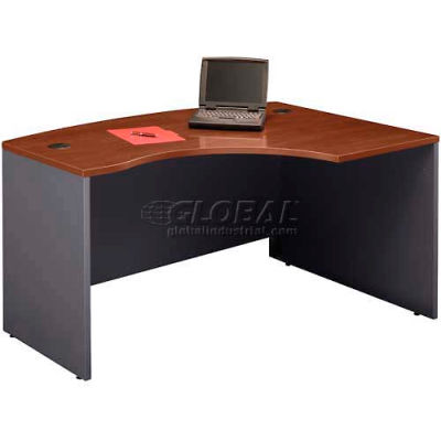 Bush Furniture Right Hand Wood Desk with Bow Front - Hansen Cherry - Series C