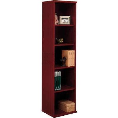 Bush Furniture Single Bookcase with 5 Shelves - Mahogany - Series C