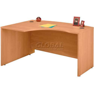 Bush Furniture Left Hand Wood Desk with Bow Front - Light Oak - Series C