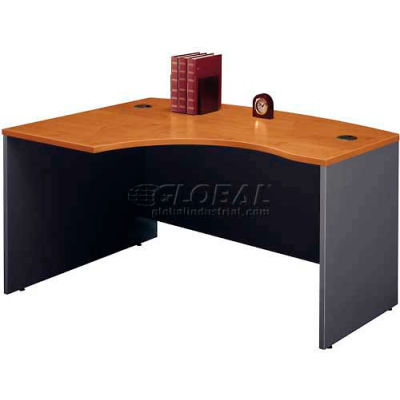 """Bush Furniture Left Hand Wood Desk with Bow Front - 42"""" Natural Cherry - Series C"""