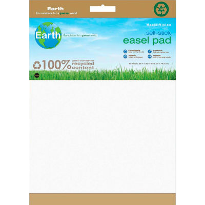 "MasterVision Earth Self-Stick Easel Pad 25""W x 35-1/2""H, 1 Pk, White"